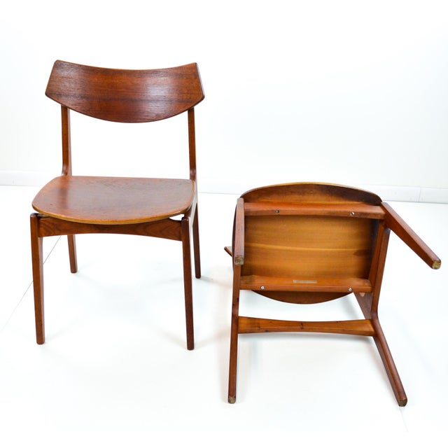 Erik Buck Vintage Danish Modern Teak Dining Chairs - Pair - Image 7 of 9