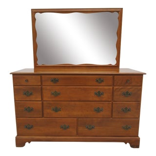 Ethan Allen -Baumritter Eleven Drawer Maple Dresser with Mirror