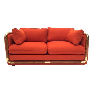 Campaign Settee Tomato Red w/ Wood & Brass Frame