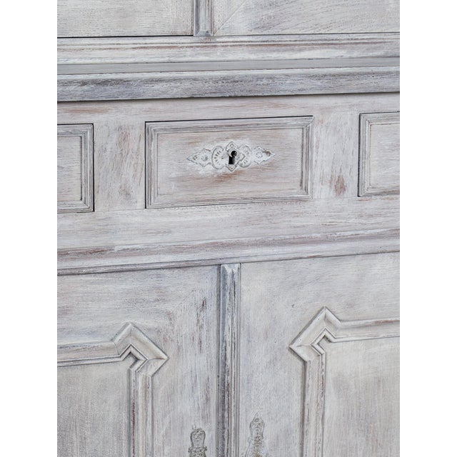 Antique French Painted Oak Louis Philippe Buffet a Deux Corps Cabinet circa 1850 - Image 8 of 11