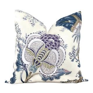 "20"" x 20"" Schumacher Indian Arbre Hyacinth Pillow Cover"