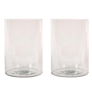 Sarreid LTD Clear Glass Hurricane Vases - A Pair
