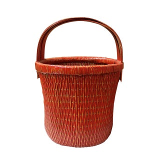 Handmade Round Shape Village Red Color Bamboo Rattan Food Bucket With Handle
