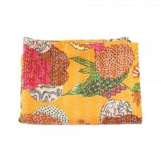 Yellow Floral Kantha Throw - Queen