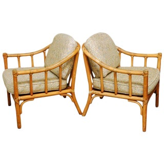 McGuire Organic Modern Bamboo Lounge Chairs - a Pair