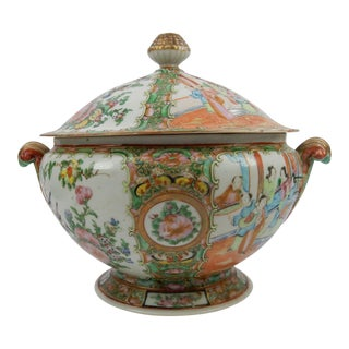 Antique Chinese Export Rose Medallion Tureen