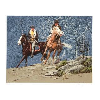 Harry Schaare Lithograph - Cowboys Racing