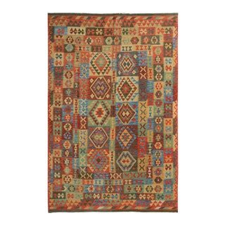 "Kilim Arya Buster Blue/Red Wool Rug - 6'6"" X 9'9"""