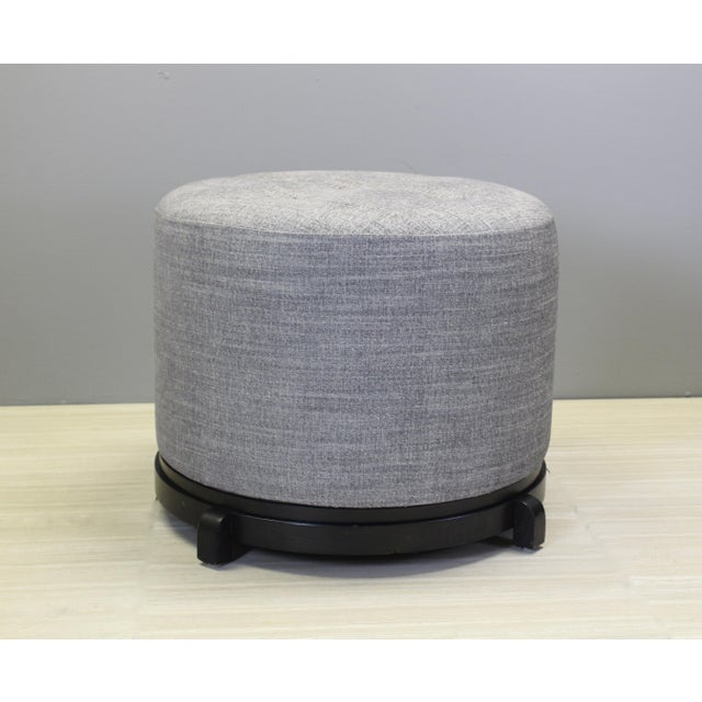 Vintage Mid-Century Gray Ottomans - A Pair - Image 2 of 5