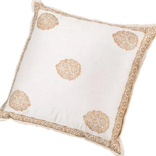 Raw Silk Ivory & Gold Lamé Pillow