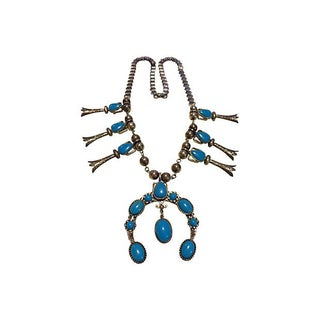Simulated Turquoise Squash Blossom Necklace
