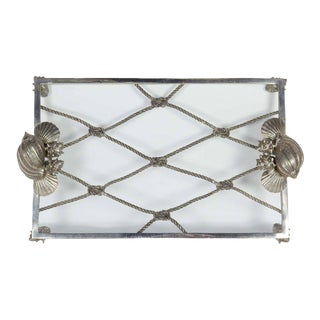 Elegant Renaissance Revival Serving Tray with Nautical Theme
