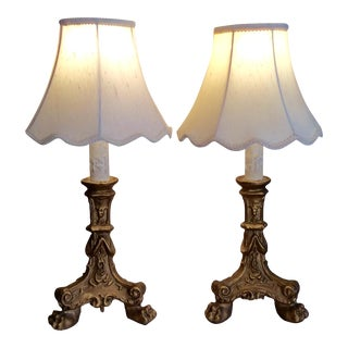Victorian Gothic Candlestick Lamps - A Pair