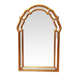 "Hollywood Regency ""Windsor Art"" Decorative Arched Gold Framed Wall Mirror"