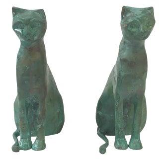 Modernist Sculptural Brass Cat Bookends - A Pair