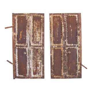 Pair of Antique Industrial Cast Iron Doors - Window Shutters - Rusted Patina