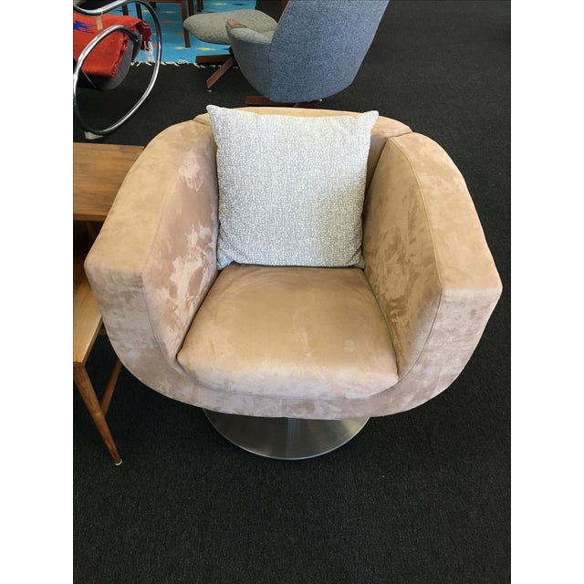 Triumph Microsuede Tulip Chairs - A Pair - Image 4 of 8
