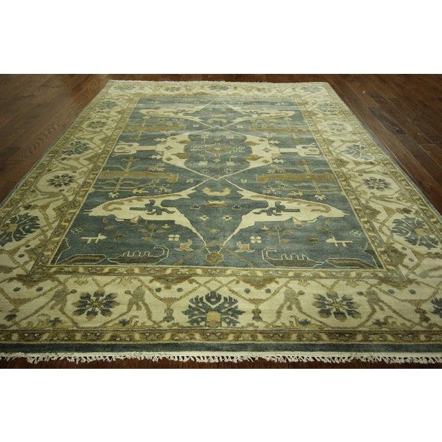 Oushak fish design blue wool rug 8 39 5 x 9 39 9 chairish for Fish area rug