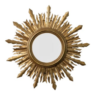 Mid Century Hand Carved Gilt Wood Sunburst Wall Mirror