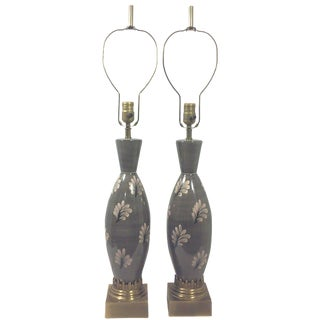 Marbro Ceramic Regency Gray Lamps - A Pair