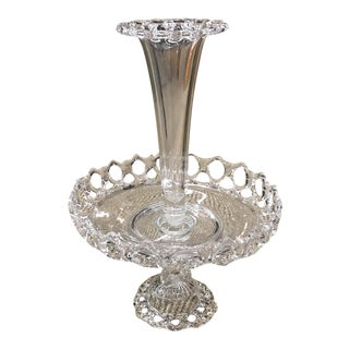Antique Cut Glass Epergne -Center Serving Bowl, Vase