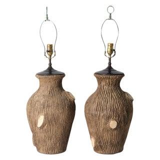 Vintage Faux Bois Pottery Lamps - A Pair