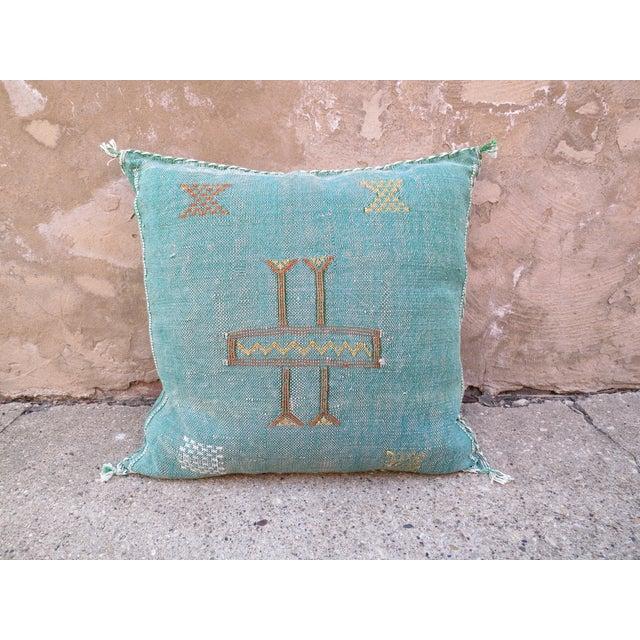 Image of Moroccan Teal Sabra Cactus Silk Pillow