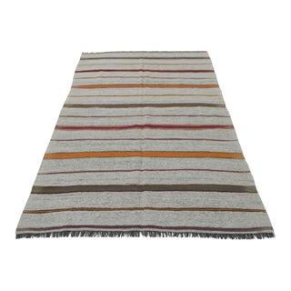 Vintage Natural Stripe Turkish Cotton Kilim Rug - 4′6″ × 7′2″