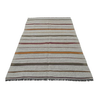Vintage Natural Stripe Turkish Cotton Kilim Rug - 4′6″ × 7′2″
