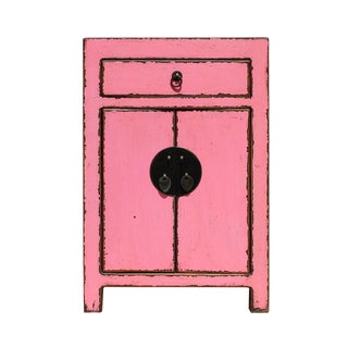 Chinese Distressed Pink Round Moon Face End Table Nightstand cs2640