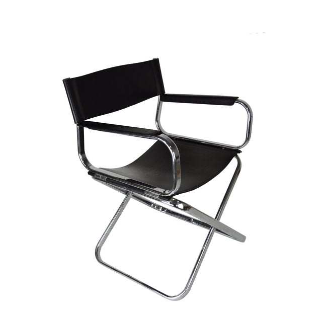 Italian Leather And Chrome Director's Chair - Image 3 of 5