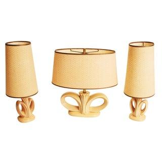 Mid Century Modern Gonder Beige Ceramic Lamps - S/3
