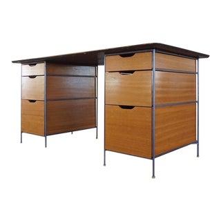 1950s Iron & Mahogany Pedestal Desk