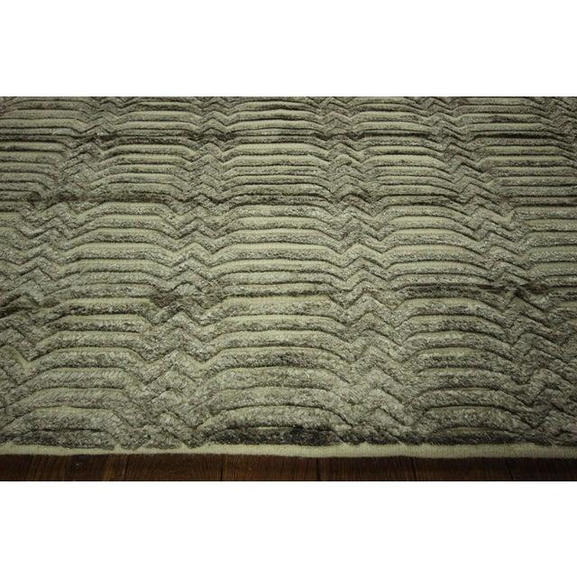 "Wool & Silk Pile Gray Moroccan Rug - 7'4"" x 8'2"" - Image 5 of 10"