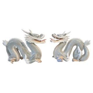 Vintage Japanese Porcelain Dragons - A Pair