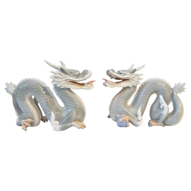 Image of Vintage Japanese Porcelain Dragons - A Pair