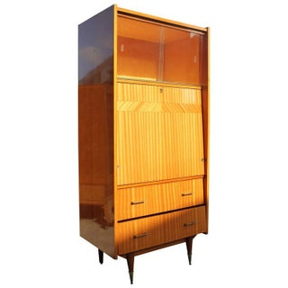 French Art Deco Flame Mahogany Secretary