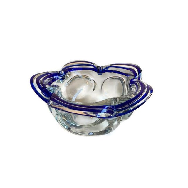 Vintage Murano Style Petal Bowl Blue Striped - Image 1 of 6