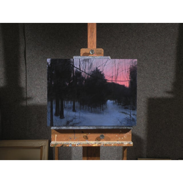 Image of Painting of Winter Sunrise on a Path in the Woods