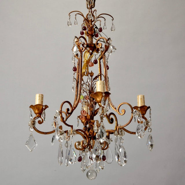 1920's Italian Four Light Crystal Chandelier With Colored Drops - Image 2 of 7