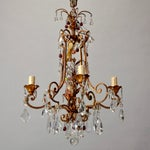 Image of 1920's Italian Four Light Crystal Chandelier With Colored Drops