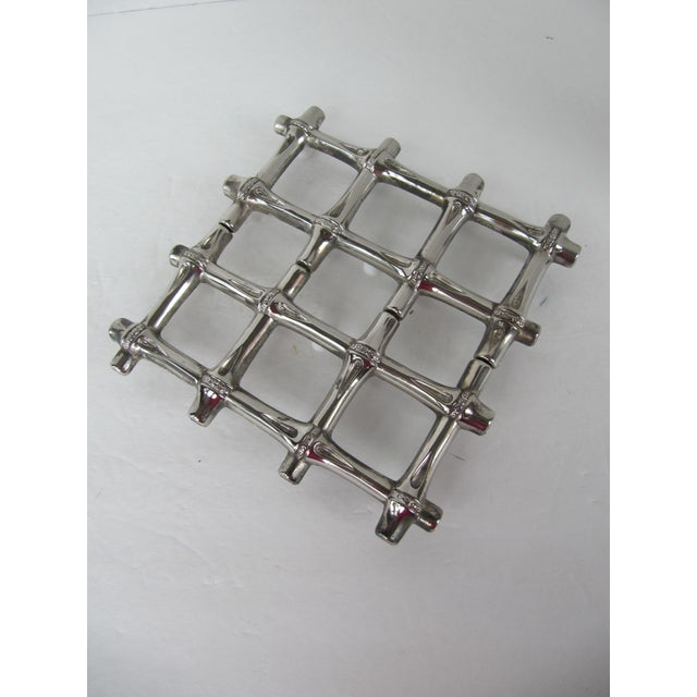 Silverplate Bamboo Trivet - Image 4 of 5