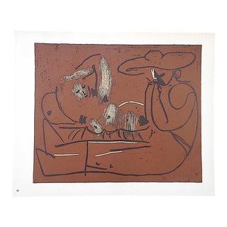 """Vintage Picasso Lithograph-""""Femme Couchee Et Homme Au Grand Chapeau"""""""