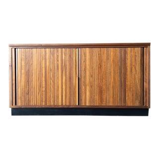 Dunbar Mid Century Refinished Walnut Tambour Record Cabinet Credenza