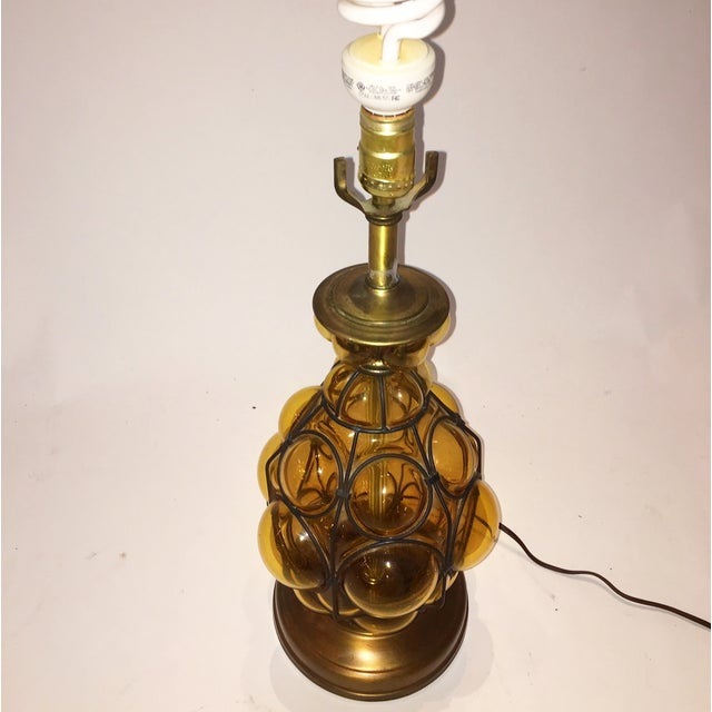 Image of Amber Mid-Century Art Glass Table Lamp