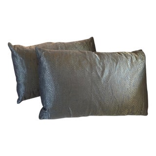 Grey Green Metallic Pillows - A Pair