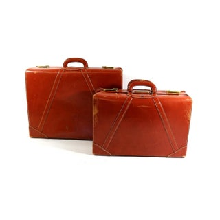 1950s Leather, Brass & Linen Suitcases - A Pair
