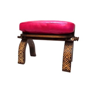 Fuchsia Moroccan Leather Footstool Bench