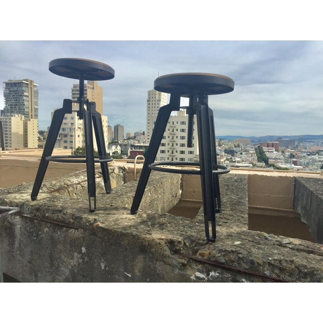 Industrial Adjustable Vintage Stool - Image 2 of 11