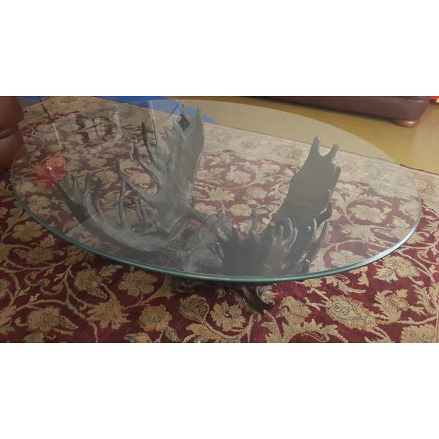 Fighting Moose Antler Coffee Table - Image 2 of 7
